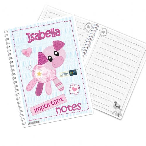 Personalised Cotton Zoo Organdie the Piglet Notebook